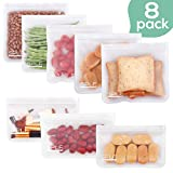 SPLF Leakproof Reusable Food Bags (5 Pack), Ideal For Lunch Sandwich Snacks Sous