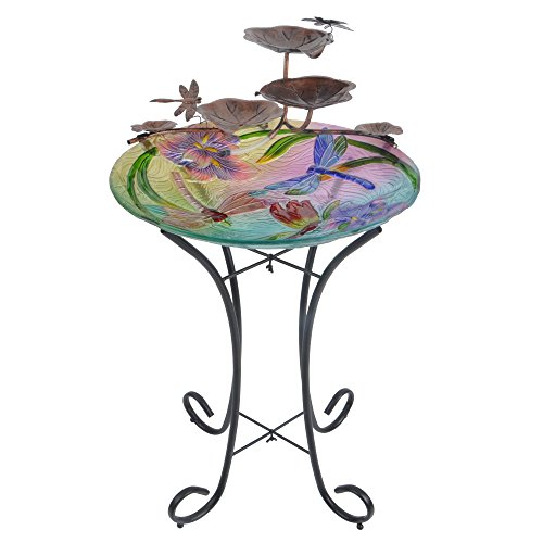 Peaktop Outdoor Garden Dragon Fly Glass - Dragonfly Floor Fountain