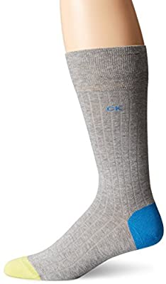 Calvin Klein Men's Giza Rib Contrast Heel Toe Crew Socks, Navy, 7-12 Shoe Size