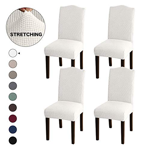 Turquoize Jacquard Dining Room Chair Slipcovers Sets Stretch Chair Cover for Home Decor Dining Chair Slipcover Washable Removable Dining Chair Protector Cover for Dining Room Set of 4, Ivory