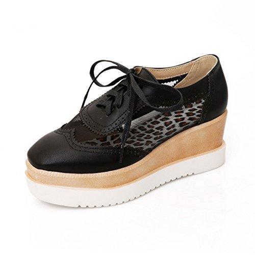 AllhqFashion Mujer PU Material Suave Puntera Cuadrada Cordón ZapatosdeTacón Tacón Medio Negro