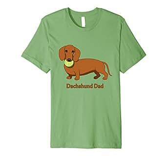 Mens Cute Red Dachshund Dad Tennis Ball T-Shirt 2XL Grass