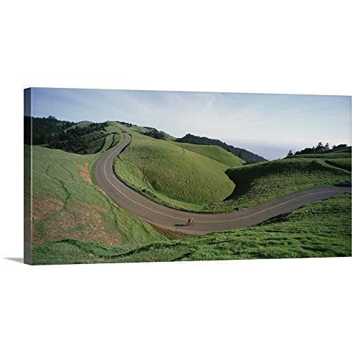 Marin Bolinas Ridge - GREATBIGCANVAS Gallery-Wrapped Canvas Entitled California, Marin County, Bolinas Ridge, Person Cycling on The Road by 60