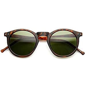 MLC Eyewear 'Eddy' Round Fashion Sunglasses in Leopard-green