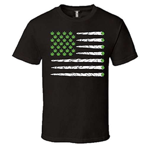 Marijuana Flag Men's Crew-Neck Hemmed Sleeves T-Shirt Funny Weed Smoker Shirts-Black
