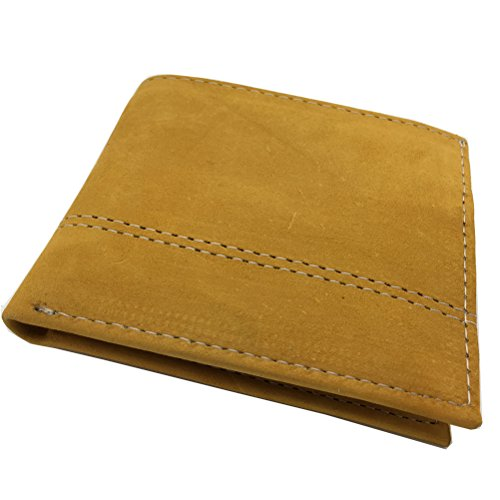 - AVIMA Genuine Leather Men's Handcrafted Wallet Bi-Fold with Photo Window - Multiple Color Choices (Yellow)
