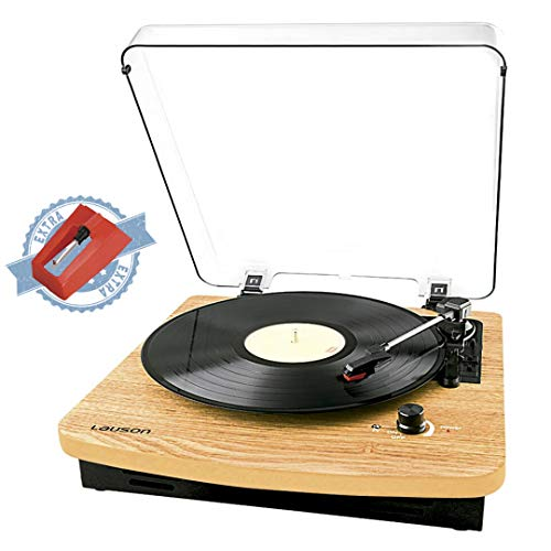 Record Player Turntable for Vinyl Records 3 Speed, Belt Drive, Lp Record Player, Headphone Jack, Aux-in, and RCA Output, Vintage Record Player CL508, Natural Wood