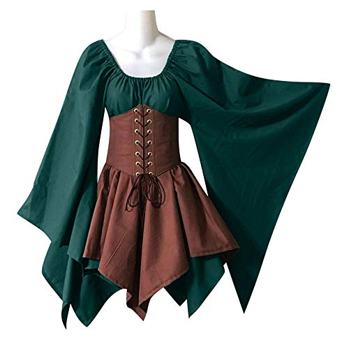 LOKODO Halloween Women Medieval Cosplay Costumes Gothic Retro Long Sleeve Corset Dress Witch Costume Green Khaki XL