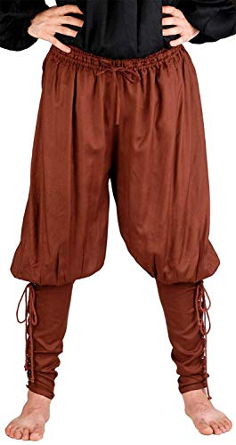 ThePirateDressing Medieval Poet's Renaissance Pirate Captain Cottuy Pants Costume [Chocolate] (X-Large)
