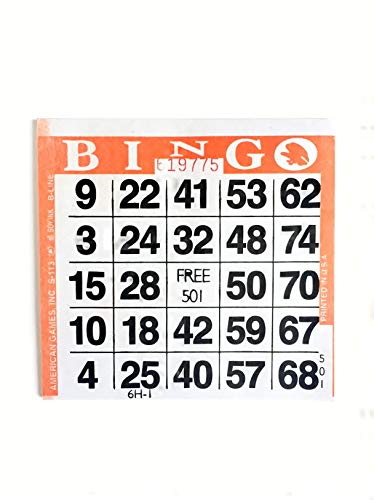 United Novelty 1 on Single Face Bingo Pushout/Punchout Paper Cards-Pack of 250- Orange Border