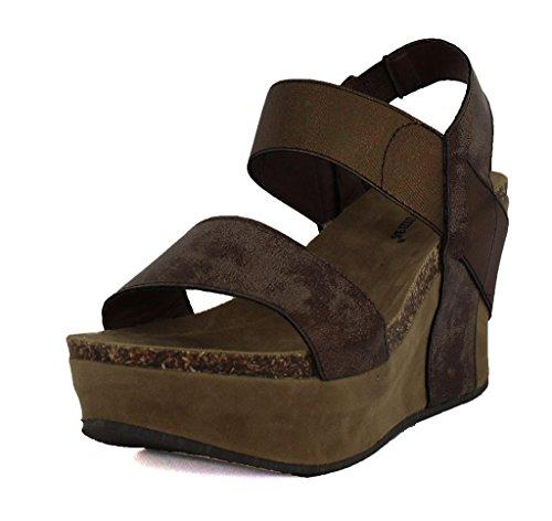 Pierre Dumas Womens Hester 1 Synthetic Sandals Brown yG1KJ6u