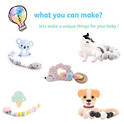 HAO JIE 6pc Baby Silicone Teething Toys Animal Icecream Shape Teether Nursing Pendant Necklace Accessories