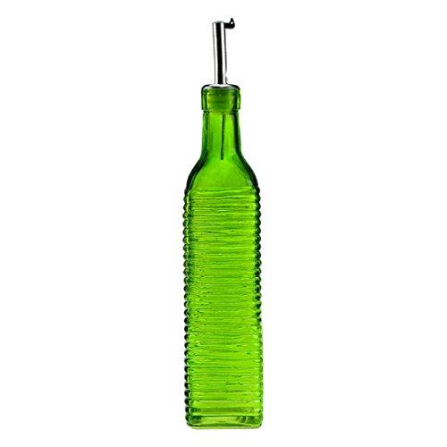 Colorful Olive Oil Dispenser, Oil and Vinegar Dressing, G421F Lime Green Colored Decorative Glass Oil Bottles, Olive Oil Pourer, Cooking Oil Dispenser. Metal Spout and Cork included
