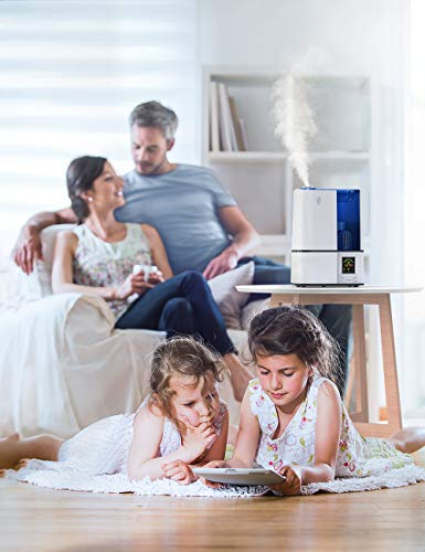 TaoTronics Cool Mist Humidifier, 4L Ultrasonic Humidifiers for Large Bedroom Home Baby, Quiet Operation, LED Display with Humidistat, Waterless Auto Shut-off (1.06 Gallon, US 110V)