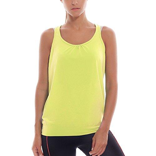SYROKAN - Camiseta Deportiva de Tirantes Para Mujer Verde amarillento