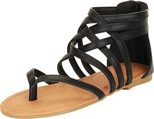 Cambridge Select Women's Crisscross Strappy Cutout Gladiator Thong Flat Sandal (8.5 B(M) US, Black)