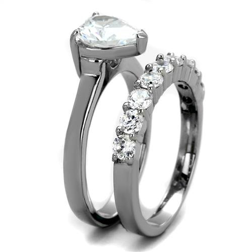 Nationalonlinediscounts Heart Cut Cz Stainless Steel 2 Piece Wedding Engagement Ring Bold Band Set Size 5,6,7,8,9 /& 10