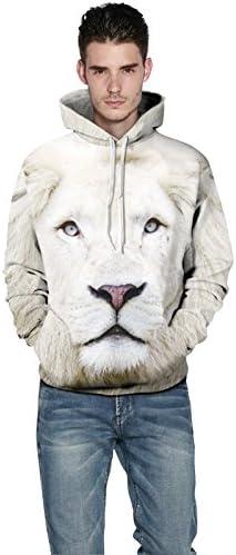 BYWLHNB Men/&Women Hoodies 3d Print White Lion Sweatshirts Hip Hop Couples Hoodie Hoody Tracksuits Tops Winter Autumn Outwears