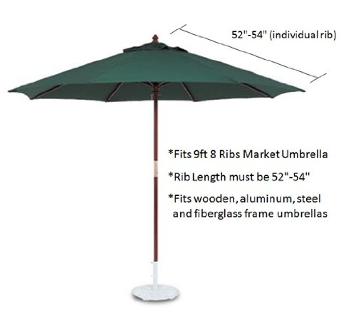 Formosa Covers Replacement Umbrella Canopy for 9ft 8 Ribs Red Canopy ONLY
