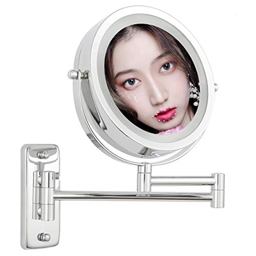 TAOKEY Wall Mounted Makeup Mirror 5X Lighted Makeup Mirror, Magnifying Vanity Mirror, Double Sided Round Shape with swivel magnifying mirror 1x 5x 360 .Polished Chrome Finish 5xW