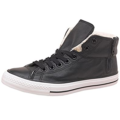 8656615cbcf3 All Black White Black White Converse CT All Star Padded Collar Side Zip  Leather