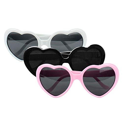 Eccellente Forma Pezzi Occhiali Da Oversize Cuore Telaio neroBianco Colore A Di Toogoo Plastica RosaNeroamp; 3 Sveglio Rosa Sole OPwnX8k0