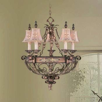 Livex Lighting 8845-64 Pamplona - Five Light Chandelier, Palacial Bronze with Gilded Accent Finish with Hand Embroidered Shade ()