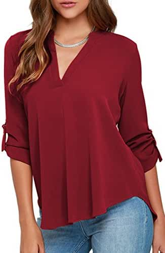 YMING Womens Casual Chiffon Ladies V-Neck Cuffed Sleeve Blouse Tops