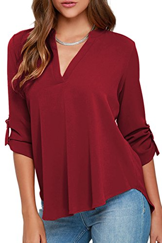 YMING Women's Casual Chiffon Blouse Long Sleeve Shirt V Neck Top Wine Red 2XL