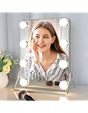 """Vanity Mirror with Lights, Hollywood Lighted Makeup Mirror with 3 Color Modes, Dimmable Tabletop Mirror, Smart Touch Control, Detachable 10X Magnification, 9"""" x 12"""""""