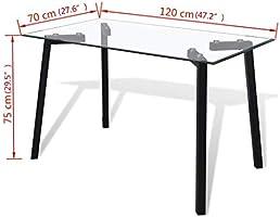 vidaXL Mesa de comedor con tablero vidrio transparente y patas ...
