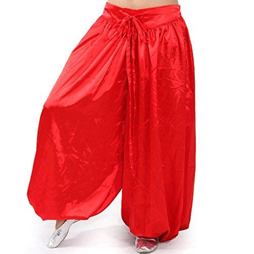 MUNAFIE Belly Dance Arab Carnival Satin Pants Hot Red]()