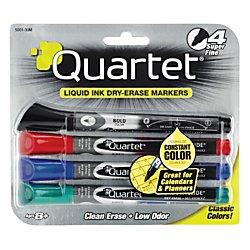 Quartet Dry Erase Markers, EnduraGlide, Super Fine Tip, Assorted Colors, 4 Pack (5001-30M)