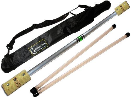 Flames N Games FIRE Devil Stick Set (100mm Wicks) WOODEN Sticks, and a Travel Bag! Juggling Devil sticks for Beginners & Pro's!