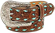 M+F Western Products Boys Floral Tooled Belt with Turquoise Underlay and Buckstitch