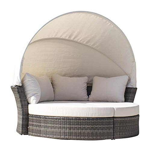 Hospitality Rattan 890-1551-GRY/SU-703 Ultra Canopy Daybed & 2 Ottomans with Cushions, Sunbrella Regency Sand