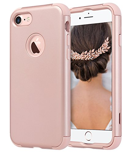 ULAK iPhone 7 Case, Hybrid Soft Rubber & Silicone + Hard PC Dual Layer Protective Cover for Apple iPhone 7 4.7 Inch, Rose Gold