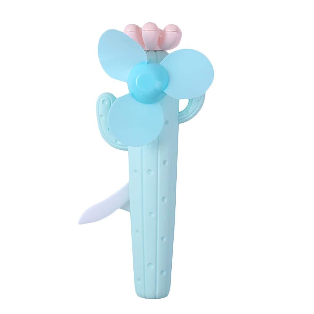 Mini Electric Fan Cute Cartoon Cactus Electric Fan Portable Battery Operated Handheld Fan Table Fan for Office Room Outdoor Traveling (Blue)