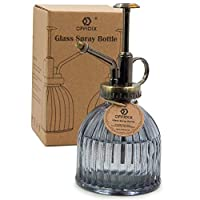 """OFFIDIX Transparent Glass Watering Spray Bottle, 6.3"""" Tall Vintage Style Spritzer Bronze Plastic Top Pump One Hand Watering Can Glass Spary Bottle Plant Mister Glass Watering Can Indoor"""