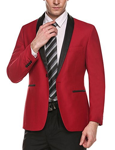 Coofandy Men's Slim Fit Stylish Casual One-Button Suit Coat Jacket Business Blazers,Red,Medium