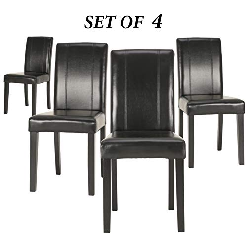 Upholstered Dining Chairs with Solid Wooden Legs, Modern Stylish PU Leather Padded Parsons Chairs Set of 4 (Black)