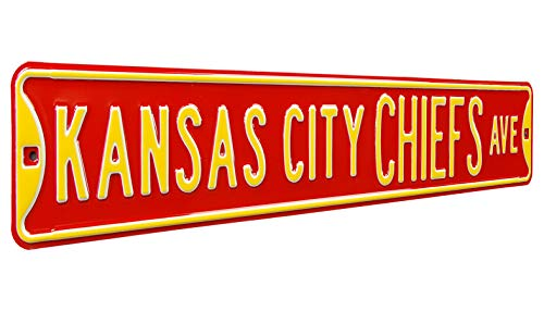 - Fremont Die NFL Kansas City Chiefs Metal Wall Décor- Large, Heavy Duty Steel Street Sign