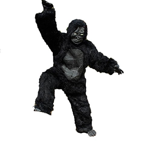 Holloween Customes--ChunRao Halloween Long Hair Gorilla Costumes With Full headgear Hands and Feet Gloves (Black With Leather Belly) (Halloween Customes For Kids)