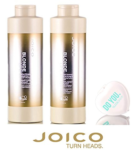 Joico Blonde Life Brightening Shampoo & Conditioner DUO Set (with Sleek Compact Mirror) (33 oz / 1000ml Large Liter DUO Kit) ()