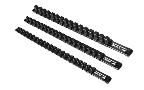 3-Piece Aluminum Socket Organizer | Olsa Tools |1/4-Inch, 3/8-Inch, 1/2-Inch Drive Socket Rails Hold 54 Sockets | Premium Quality Socket Holders (BLACK)