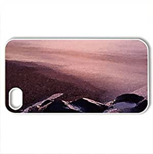 awesome sunset on a beach with rocks - Case Cover for iPhone 4 and 4s (Beaches Series, Watercolor style, White)