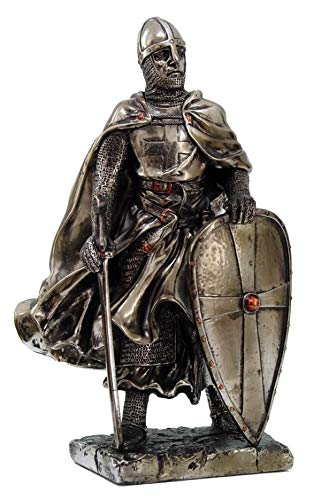 (Crusader Knight Statue Silver Finishing Cold Cast Resin Statue 7