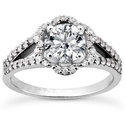 1.28 ct TW Round Diamond Modern Style Engagement Ring with Form Fit Matching Wedding Band Rings in 14 kt White Gold in Size 7.5