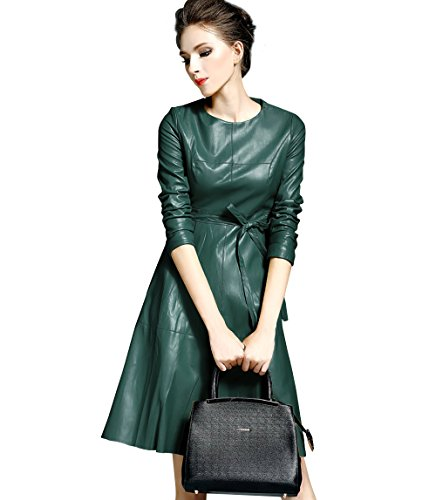 Womens Faux Leather Fashion Midi Bodycon Dress with Belted (M, Green)