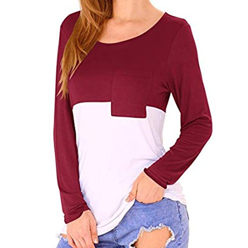 NEARTIME Promotion❤️Autumn Women Casual Tops Patchwork Pocket T-Shirts Scoop Neck Long Sleeves Loose Blouse
